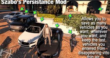 Szabo's Persistance Mod - сохранение машин в любом месте на карте