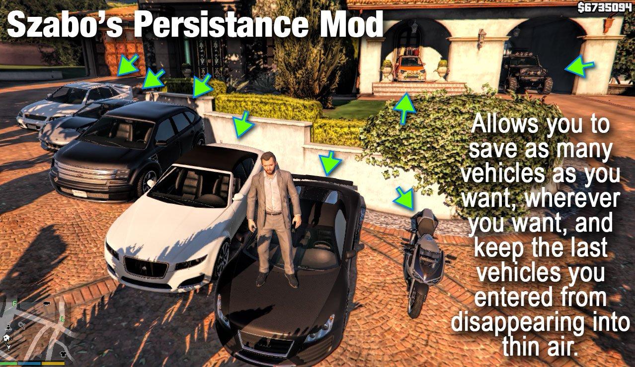 Szabo's Persistance Mod — сохранение машин в любом месте на карте