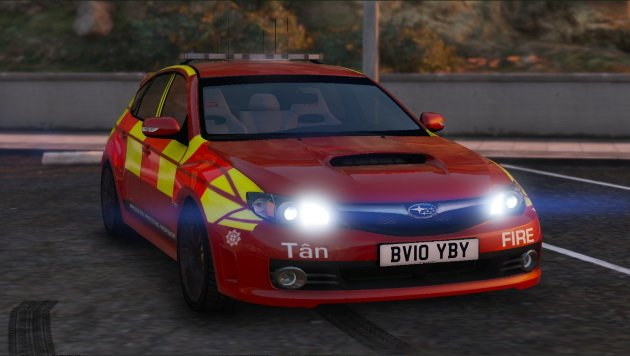 2009 Subaru Impreza WRX Fire Car