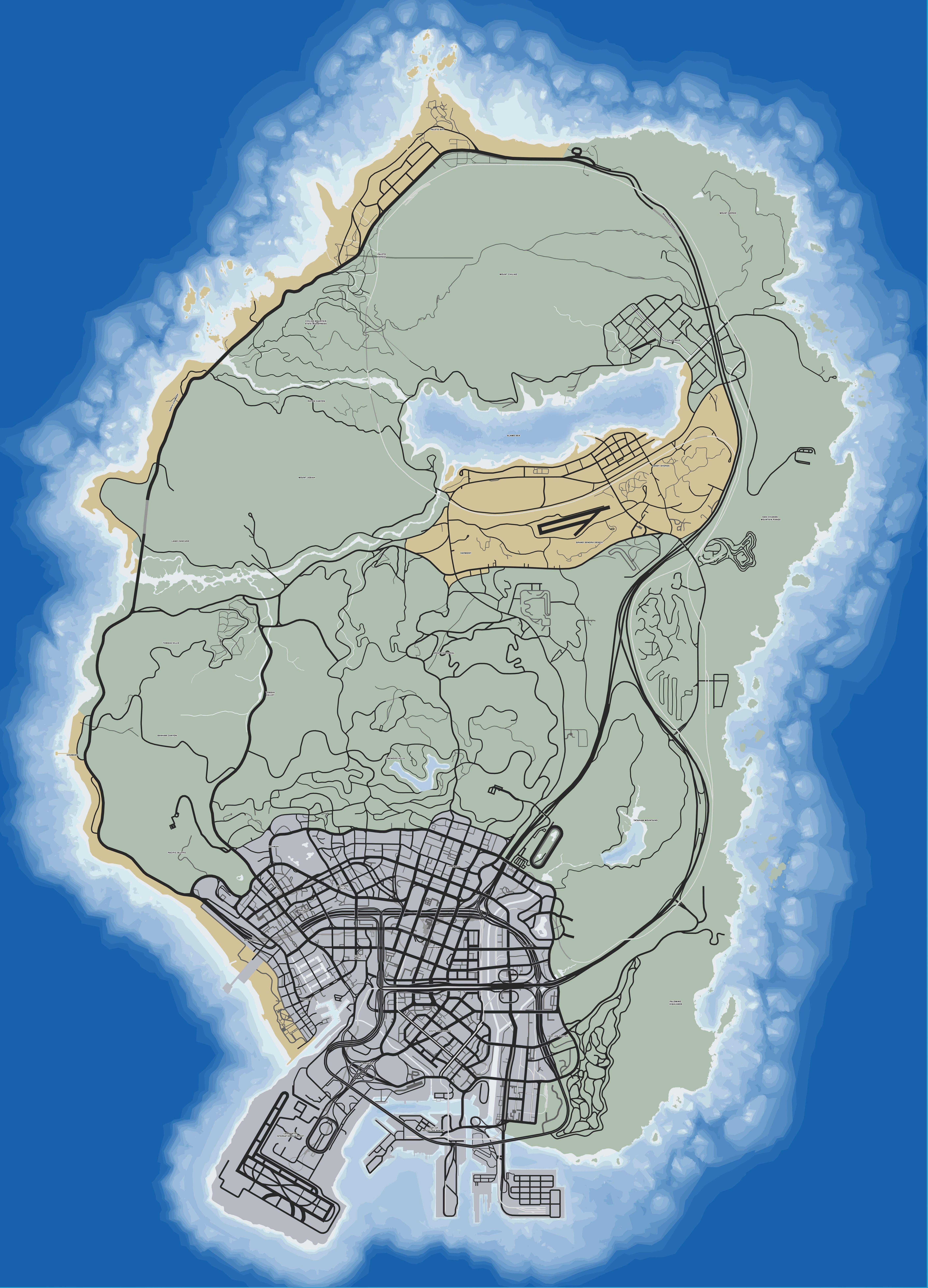 Карта дорог в GTA 5