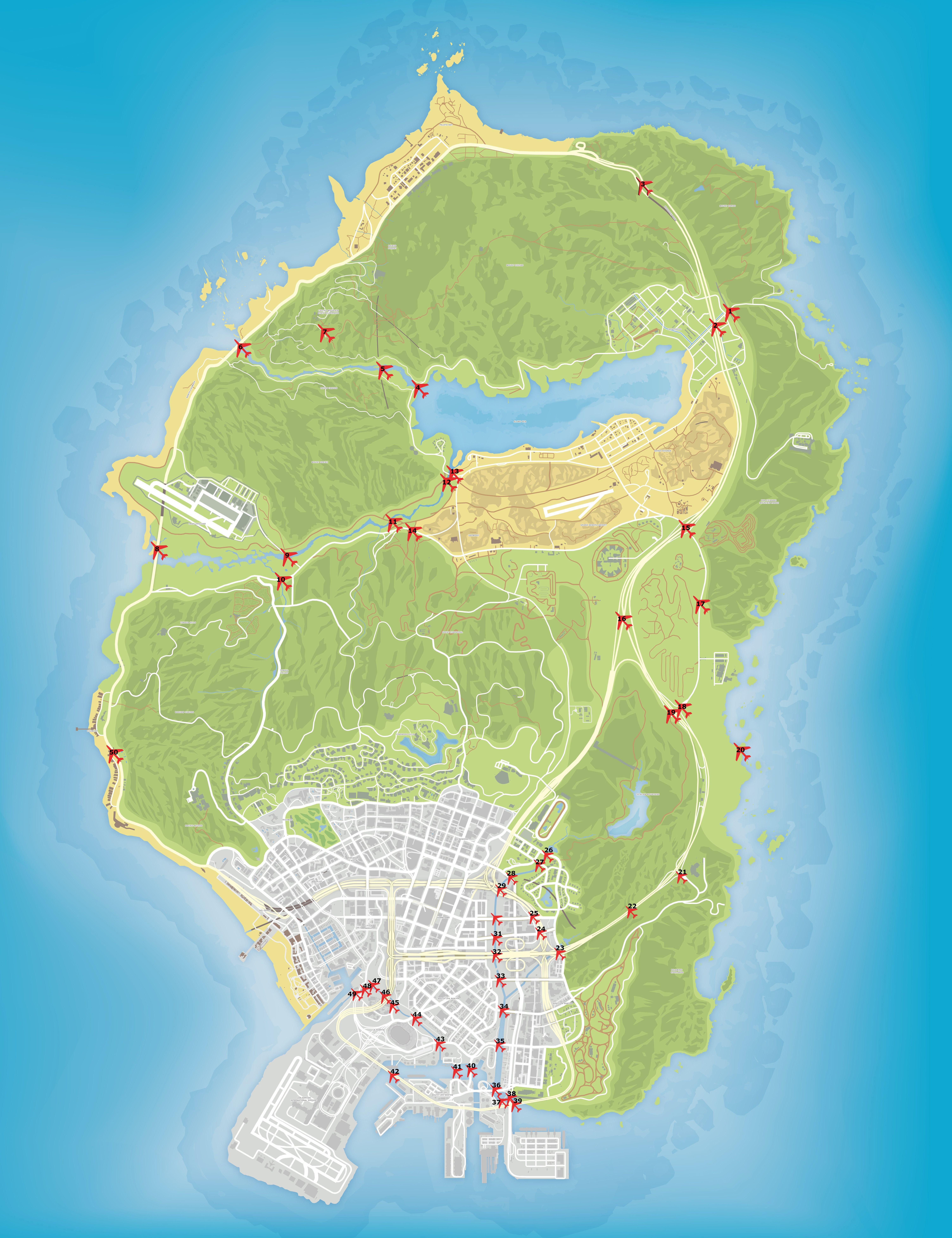 Карта мест пролетов под мостами в GTA 5