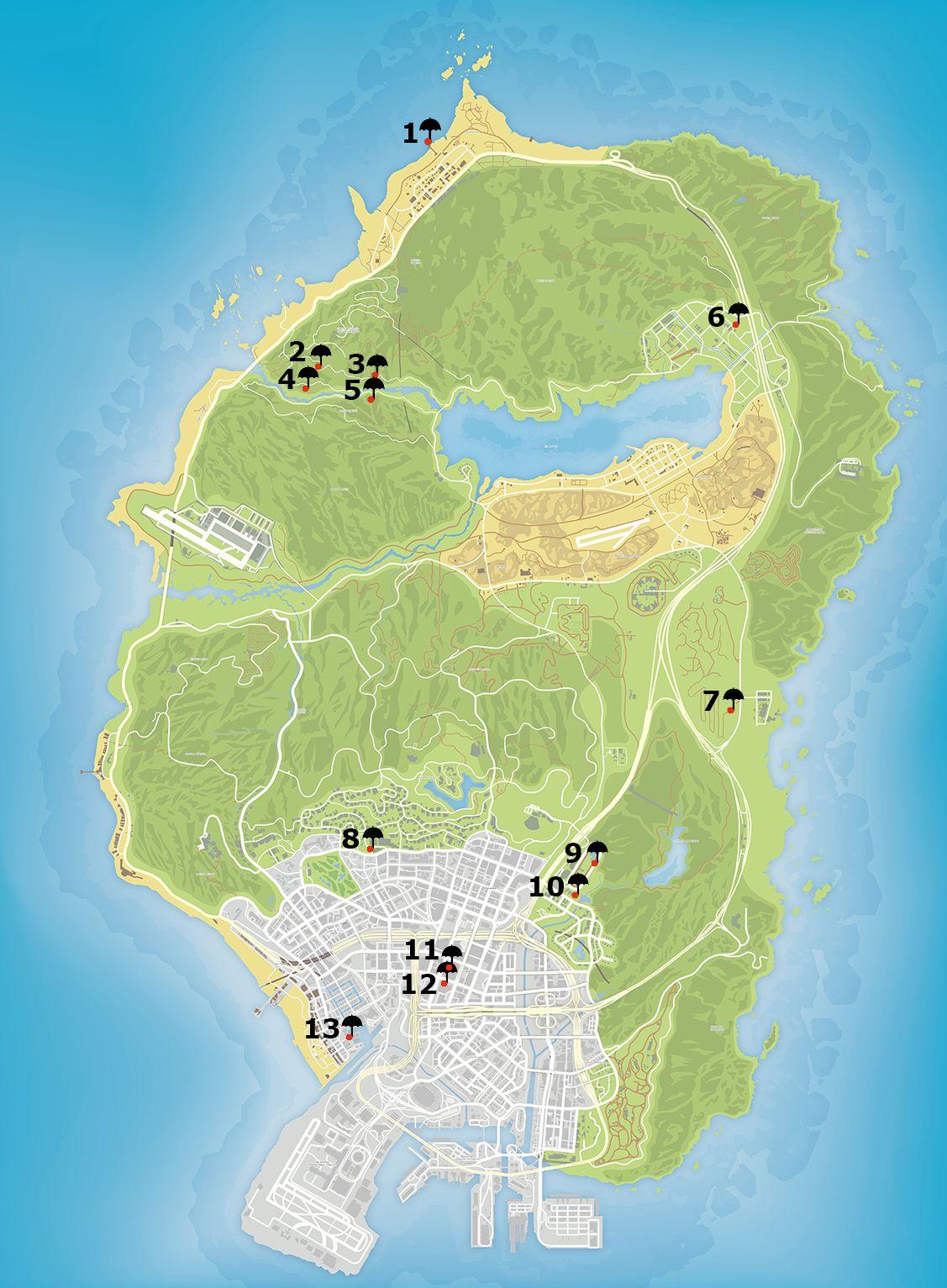 Карта прыжков с парашютом