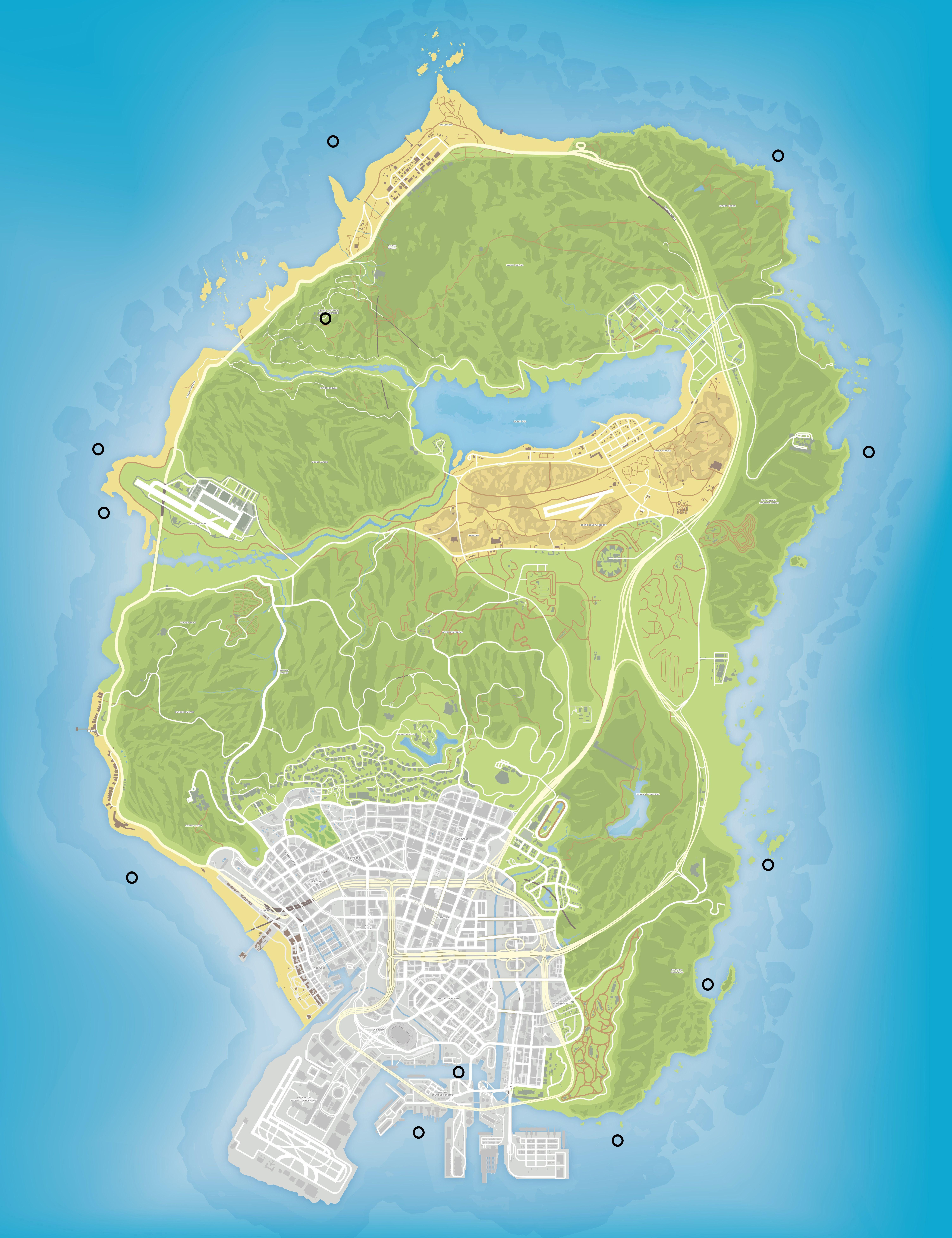 Карта спрятанных пакетов в GTA 5