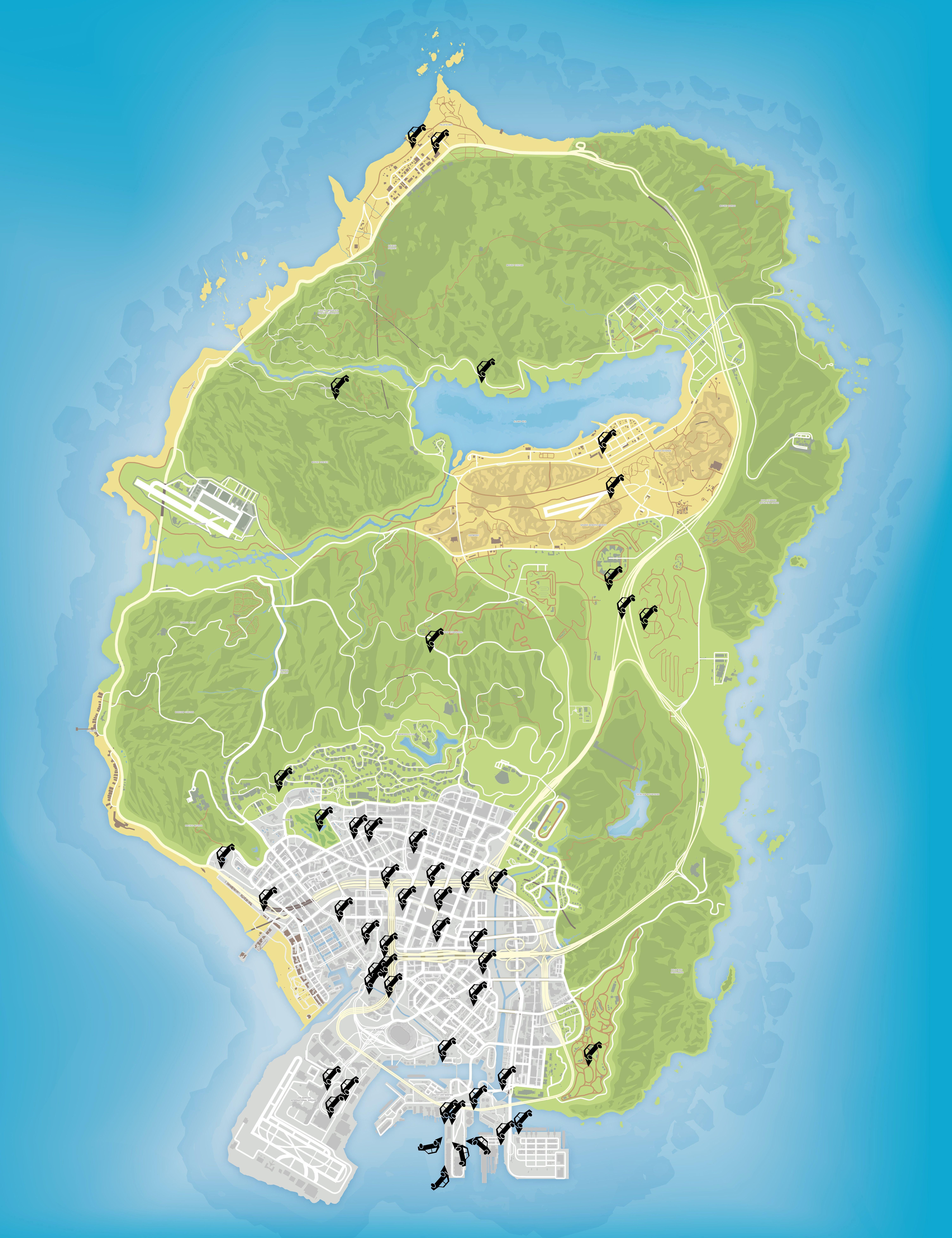 Карта уникальных прыжков в GTA 5