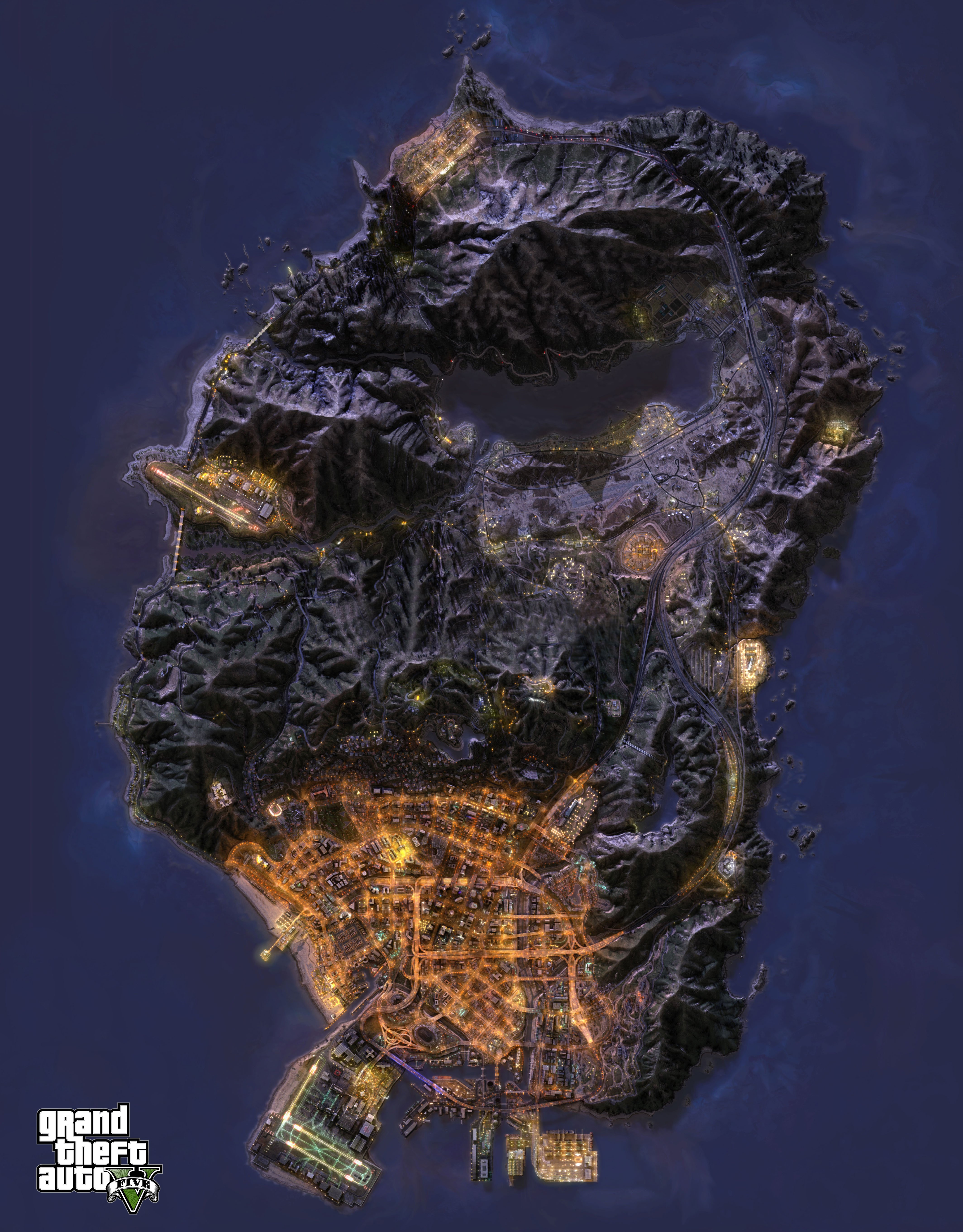 Спутниковая карта GTA 5 ночью