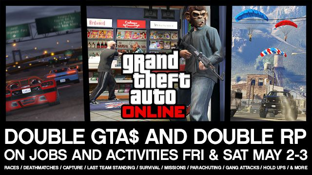 Cо 2 по 3 мая получите в 2 раза больше GTA $ и RP в GTA Online