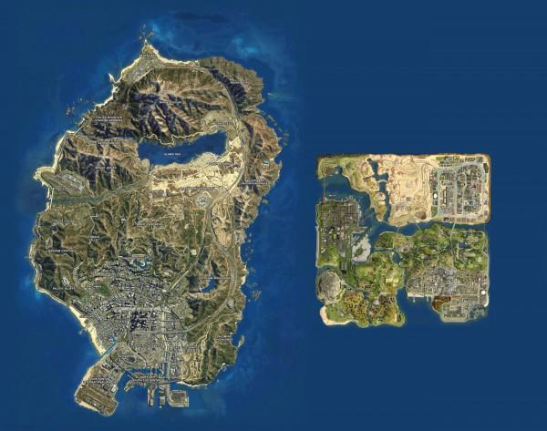 Сравнение Сан-Андреаса в GTA 5 и образца 2004 года