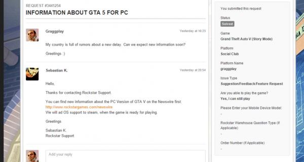 Разработка GTA 5 на ПК идет по плану - в Steam добавлена поддержка ОС Windows для GTA 5