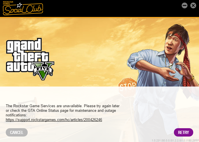 The Rockstar update service is unavailabl