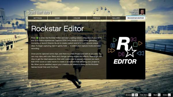 Главное меню редактора Rockstar