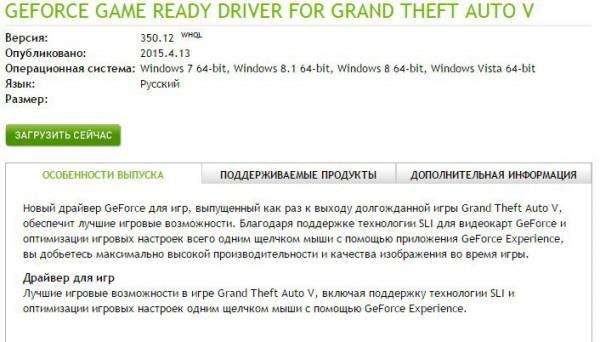 NVidia выпустила специальный Game Ready драйвер для GTA 5 на PC