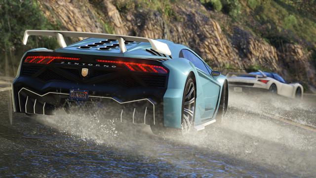 Аквапланирование суперкаров на крутом повороте в деле «По течению».
