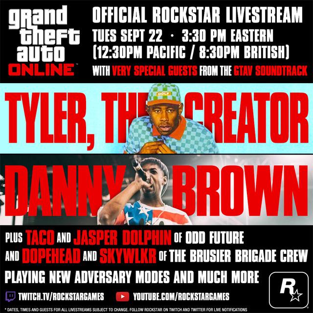 Tyler, the Creator и Danny Brown, прямая трансляция GTA Online, 22 сентября, в 22:30 по Москве