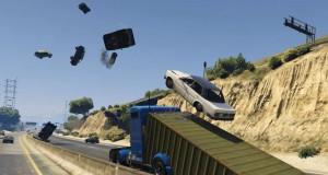 Как сделать дорожную пробку в GTA 5 веселой с помощью грузовика и его прицепа