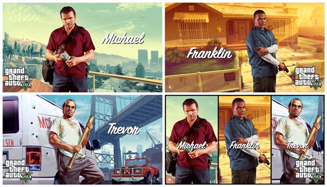 Иллюстрации к GTA V: Майкл, Франклин, Тревор