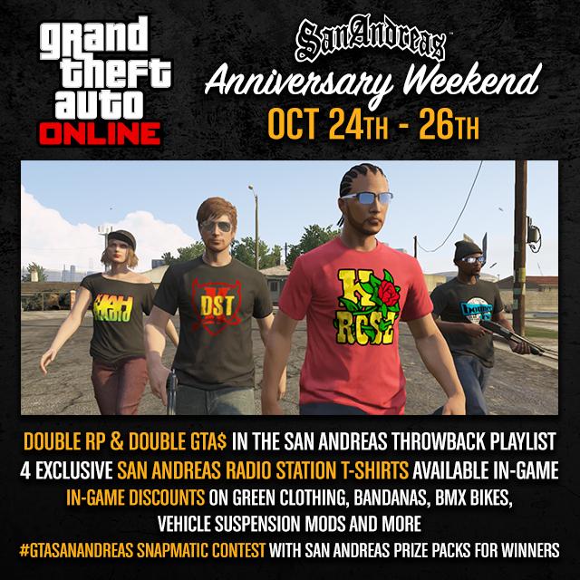 Мероприятие «Юбилей San Andreas» в GTA Online: дополнительные RP + футболки с логотипами радиостанций SA и не только