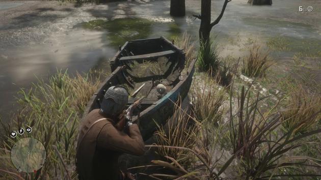 Лодка с мечом и скелетом