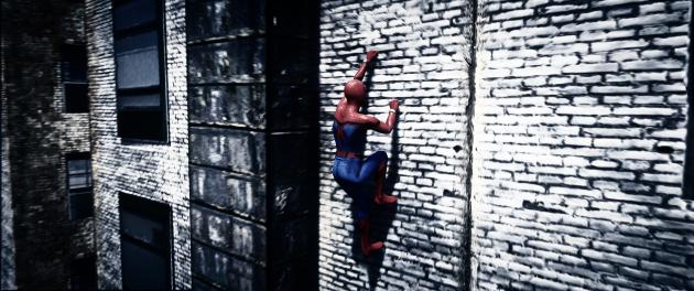Человек-паук лазает по стенам