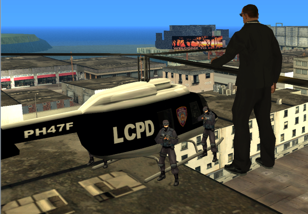 Карл у полицейского вертолета