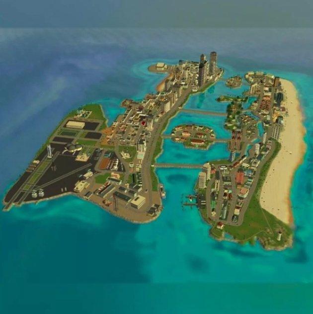 Вид сверху на карту GTA Vice City